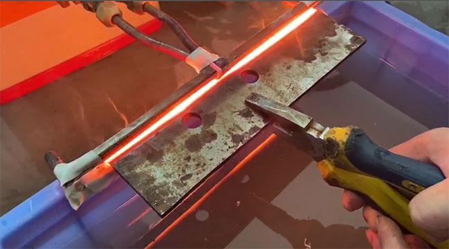 超高频加热机对刀具刀口淬火试样打样视频