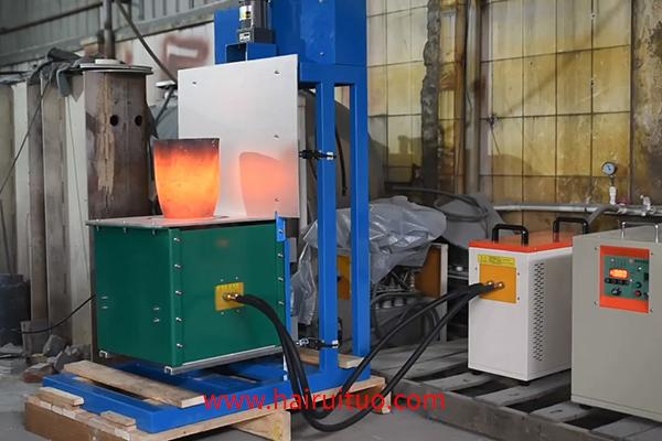 电动式升降中频熔炼炉视频金银铜铁铝金属熔炼设备