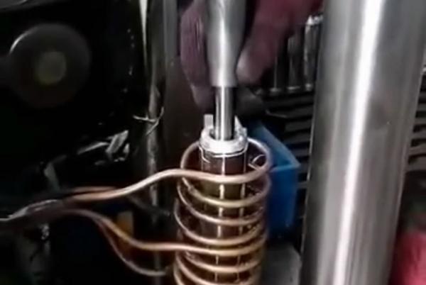 电机轴热套热配合用高频加热机加热